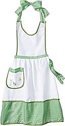 Violet Linen Elegant Embroidered Apron, One Size, Green