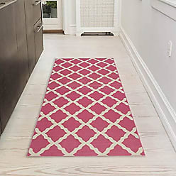 Ottomanson Glamour Collection Contemporary Moroccan Trellis Design Runner Rug (Non-Slip) Kitchen and Bathroom Mat, 20 X 59, Pink
