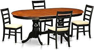 East West Furniture PLPF5-BCH-C 5 Piece Table with 4 Solid Wood Chairs Set