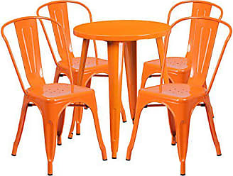 Flash Furniture 24 Round Orange Metal Indoor-Outdoor Table Set with 4 Cafe Chairs