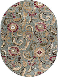 Tayse Wichita Transitional Floral Blue Oval Area Rug, 5 x 7 Oval