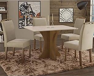 Siena Móveis Conjunto Sala de Jantar em Madeira Maciça Mesa Tampo de Vidro Turim 4 Cadeiras Priscila Siena Móveis Castanho/Suede 67
