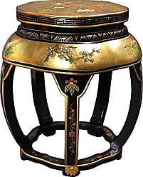 Oriental Furniture Lacquer Blossom Stool - Gold