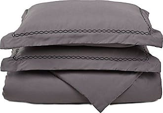 Superior Super Soft Light Weight, 100% Brushed Microfiber, King/California King, Wrinkle Resistant, Grey Duvet Cover Set with Black Cloud Embroidered Pillowshams in Gift Box