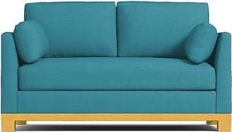 Apt2B Avalon Apartment Size Sleeper Sofa - Leg Finish: Natural - Sleeper Option: Deluxe Innerspring Mattress - Teal Performance Fabric - Sold by Apt2B