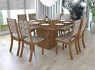 Viero Conjunto Sala de Jantar Mesa e 8 Cadeiras Caqui Viero Avelã/Medina
