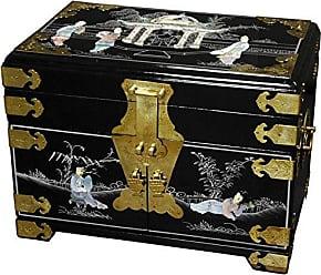Oriental Furniture Daisi Jewelry Box w/Mirror - Black