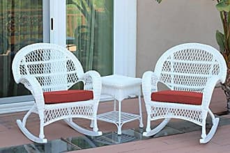Jeco W00209_2-RCES018 3 Piece Santa Maria Rocker Wicker Chair Set with Red Cushions, White