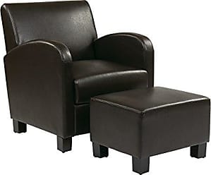 Office Star Metro Faux Leather Club Chair with Ottoman and Espresso Finish Legs, Espresso