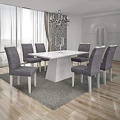 Leifer Conjunto Sala de Jantar Mesa Tampo MDF/Vidro Branco 6 Cadeiras Pampulha Leifer Branco/Linho Cinza