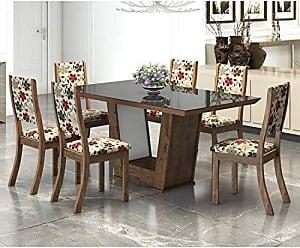 Viero Conjunto Sala de Jantar Mesa Genesis 6 Cadeiras Kiara New Viero Griggio/Passion/Preto