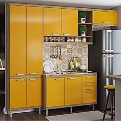 Multimóveis Cozinha Completa com Balcão sem Tampo 4 Peças 9 Portas Sicília Multimóveis Argila/Amarelo
