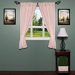 Sweet Home Collection Fabric Bathroom Window Curtain Hotel Quality Set of Two Durable 36 x 54 Panels with Pair of Tiebacks, Pink