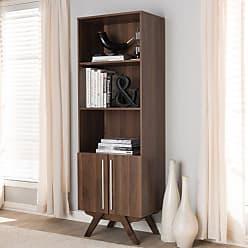 Baxton Studio Ashfield Mid-Century Modern Wood Bookcase - BC 1560-01-DARK BROWN