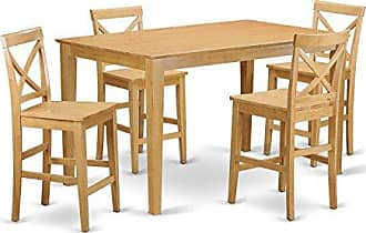 East West Furniture CAPB5H-OAK-W 5 Pc Pub Set-Counter Height Table and 4 Kitchen Chairs, Gold