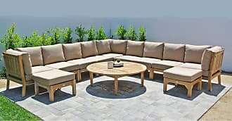 Willow Creek Designs Outdoor Willow Creek Huntington 12 Piece Teak Sectional Patio Conversation Set with Chat Table Canvas Heather Beige - WC-30-5476