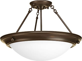 PROGRESS Eclipse Antique Bronze 3-Lt. close-to-ceiling with Satin white glass bowl