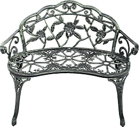 Costway Outdoor Cast Aluminum Patio Bench Antique Rose
