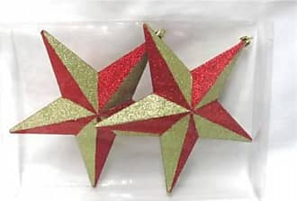 Queens of Christmas WL-STAR-7.5-GORE 7.8 in. Five Point Star Red & Gold Glitter Ornaments