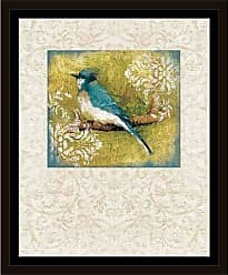 EAZL Damask Bird Painting 1 Tan & Green, Framed Canvas Art by Pied Piper Creative