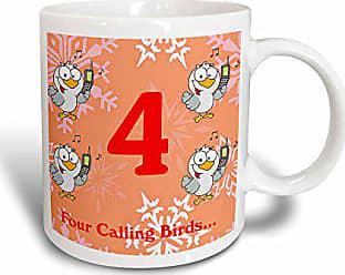 3D Rose 158229_312 Days Of Christmas Four Calling Birds Mug 11 oz Black/White