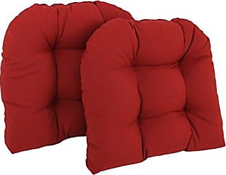 Blazing Needles U-Shaped Twill Tufted Dining Chair Cushions (Set of 2), 19, Ruby Red