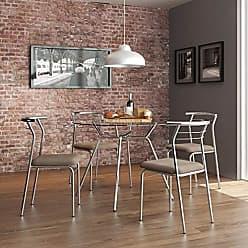 Siena Móveis Conjunto de Mesa Tampo Vidro Redondo com 4 Cadeiras Luanda Siena Móveis Cromado/Camurça/Conhaque