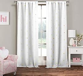 Duck River Textile Lala + Bash Becca Metallic Blackout Darkening Window Curtain 2 Panel, 37 x 84, White