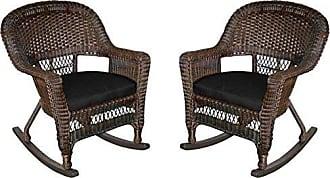 Jeco W00201R-A_2-FS017 Rocker Wicker Chair with Black Cushion, Set of 2, Espresso