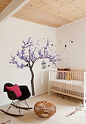 The Decal Guru Japanese Cherry Blossom Birdhouse and Tree Large Wall Decal Sticker DIY Nursery Room Decor Art, Shades of Purple, 72x92 inches