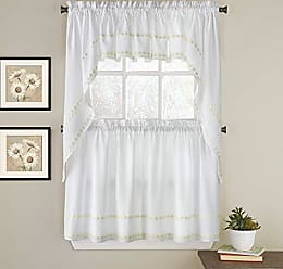Sweet Home Collection Kitchen Window Curtain 5 Piece Set with Valance, Swag, and Choice of 24 or 36 Tier Pair, Daisy Mae Yellow