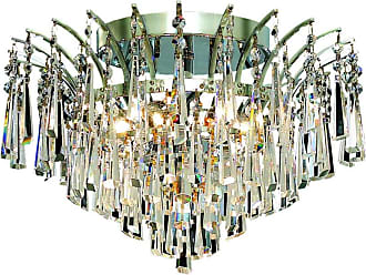 Elegant Lighting 8032 Victoria Collection Flush Mount D16in H10in Lt:6 Chrome Finish (Royal Cut Crystals)