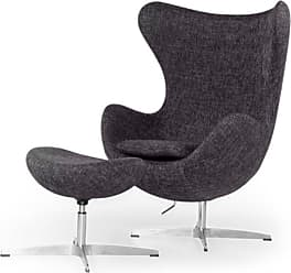 Kardiel Amoeba Swivel Accent Chair with Ottoman Carbonite - EGG-CARBONITE-TWILL