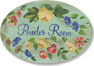 The Stupell Home Décor Collection The Stupell Home Decor Collection Powder Room with Flowers Oval Bathroom Wall Plaque
