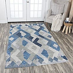 Rizzy Home Idyllic Collection Wool Natural /Gray/Rust/Blue Geometric Area Rug 9 x 12