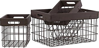 Urban Trends Collection Urban Trends Metal Rectangular Storage Basket with Wood Frame and Cutout Handle (Set of 3), 10.25 by 7.25 by 8, Espresso Brown