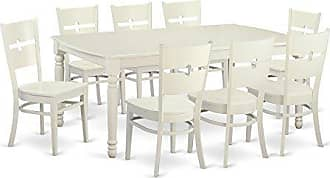 East West Furniture DORO9-LWH-W 9 Piece Dining Room Table and 8 Kitchen Chairs