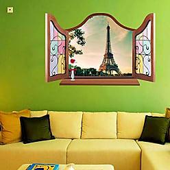Zoo Adesivo Decorativo de Parede Janela Paisagem Torre Eiffel