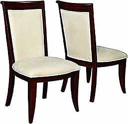 Coaster Alyssa Upholstered Side Chairs with Flared Feet Light Tan and Dark Cognac (Set of 2)