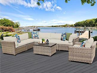 TK Classics Monterey 8 Piece Outdoor Wicker Patio Furniture Set 08b (Size)