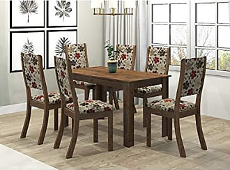Viero Conjunto Sala de Jantar Mesa Violeta 6 Cadeiras Kiara Viero Grigio/Passion