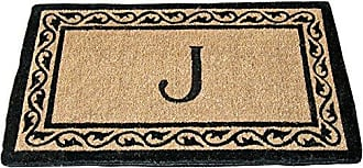 Geo Crafts Creel Monogram Doormat, 24 x 39-Inch, Black Border