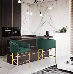 Iconic Home FCS9489-AN Cyrene Counter Stool Chair Velvet Upholstered Shelter Arm Shell Design 3 Legged Gold Tone Solid Metal Base Modern Contemporary, Green
