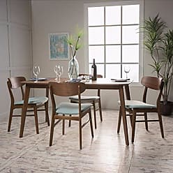 GDF Studio Christopher Knight Home 299284 Lucille Fabric/Natural Walnut Finish 60 Rectangular 5 Piece Dining Set (Mint)