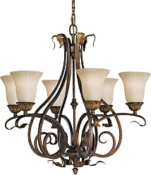 Feiss F2076/6ATS Sonoma Valley Chandelier in Aged Tortoise Shell finish with French Scarvo Glass Shade
