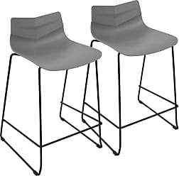 LumiSource Arrow Contemporary Counter Stool - Set of 2 Black / Gray - CS-ARROW BK+GY2