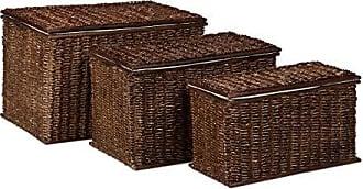 color marr/ón M de 18 litros y L de 30 litros Curver 240653 Set de 3 cestas Style con tapa tama/ños S de 7 litros
