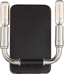 Minka Lavery Liege 2-Light Wall Sconce in Matte Black W/Polished Nickel