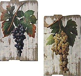 Urban Designs Vintage Vineyard Wooden Prints Wall Art - Set of 2 Grapes