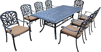 Oakland Living Outdoor Oakland Living Hampton 9 Piece Rectangular Patio Dining Set with Stackable Chairs Sunbrella Cushion - 7207T-7201C8-D54-17-AB